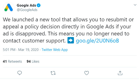 Resubmissions and Appeals of Google Ad Policy Issues